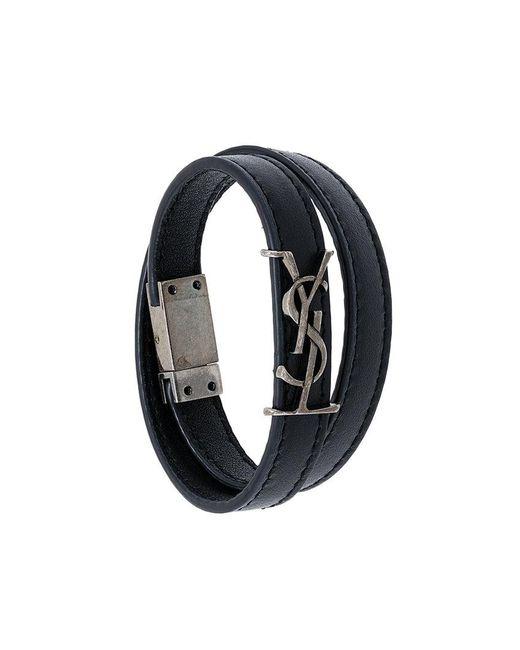 Saint Laurent | Black Ysl Double Wrap Bracelet | Lyst