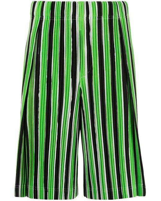 Homme Plissé Issey Miyake Green Striped Plissé Track Shorts for men