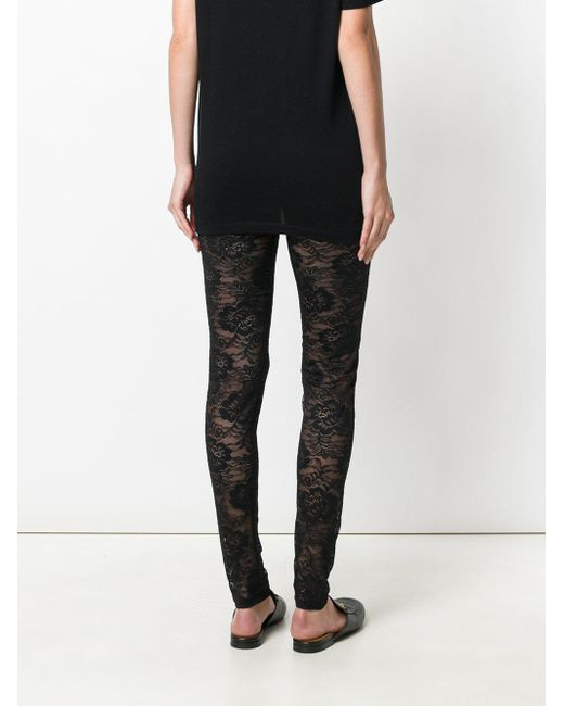 Gucci Floral Lace Leggings in Black | Lyst
