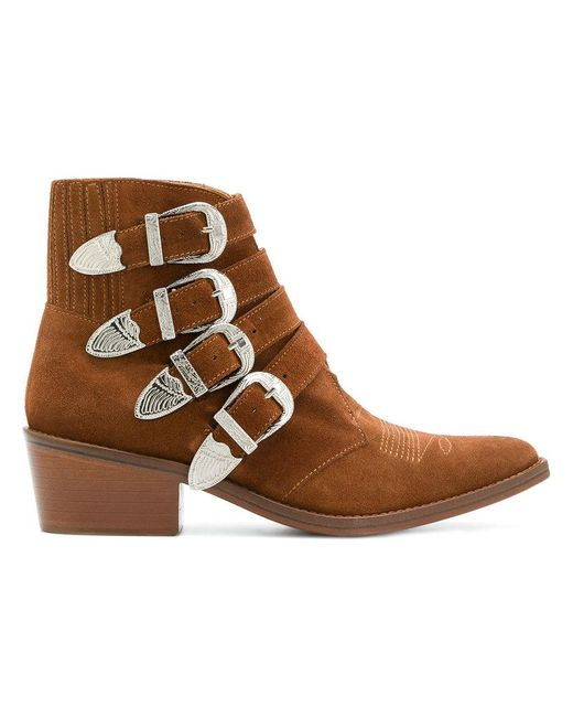 Toga Pulla - Brown Buckled Strap Ankle Boots - Lyst