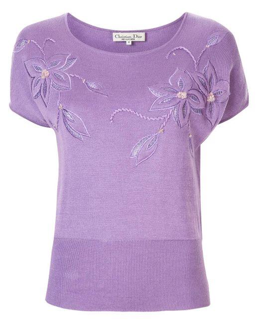 Dior フローラル Tシャツ Purple