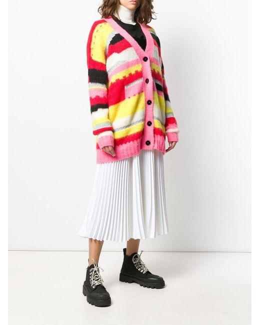 Трикотажный Кардиган С Геометричным Узором MSGM, цвет: Pink