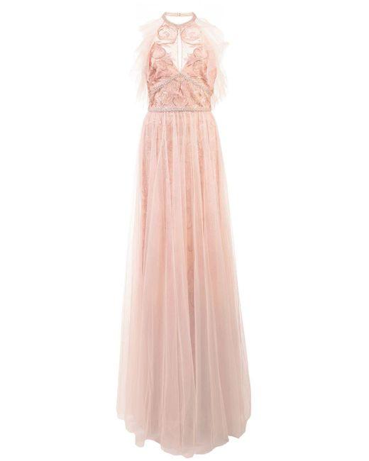 Платье Халтер С Вышивкой Marchesa notte, цвет: Pink