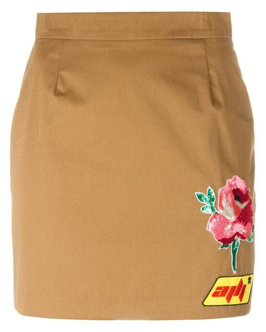 Au Jour Le Jour - Brown Patch Detail Mini-skirt - Lyst