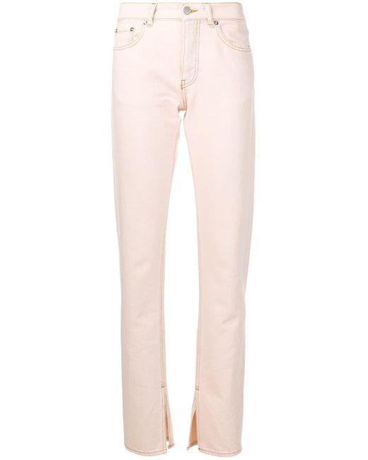 Ganni Pink Sheldon Slit Hem Jeans