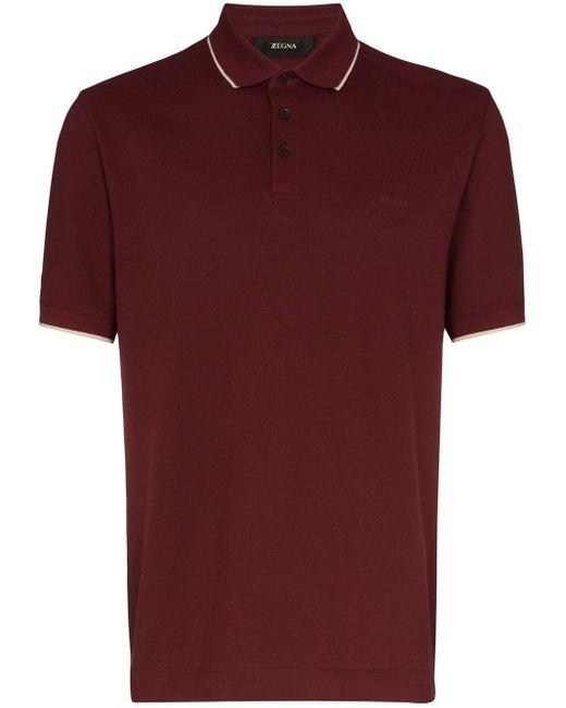 メンズ Z Zegna ロゴ ポロシャツ Red