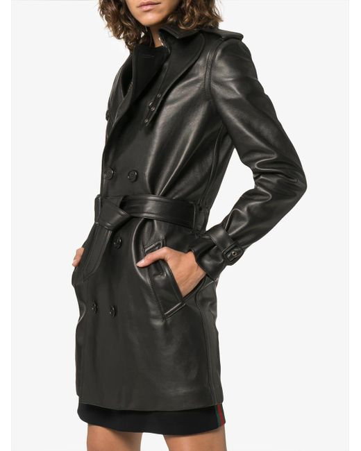 f10122b11d7 ... Saint Laurent - Black Double Breasted Trench Coat - Lyst ...