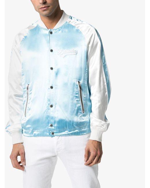 メンズ Balmain ロゴ ボンバージャケット Blue