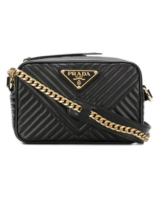 Prada - Black Quilted Logo Cross-body Bag - Lyst