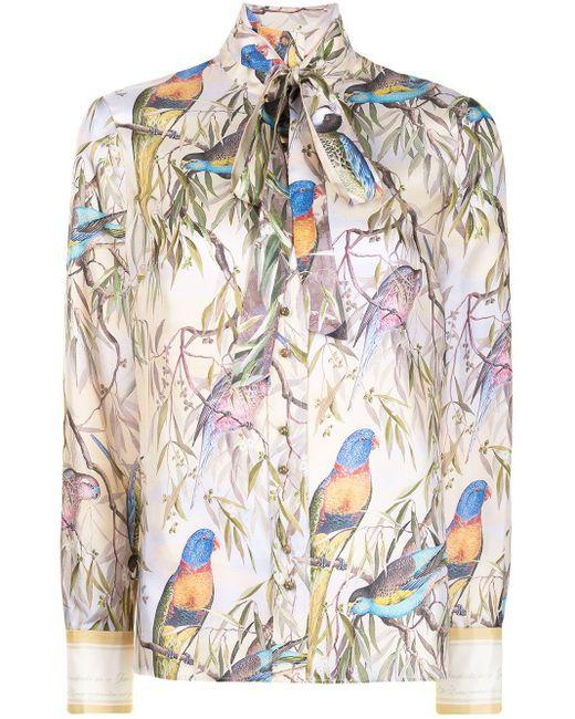 Zimmermann リーフプリント シルクシャツ Multicolor