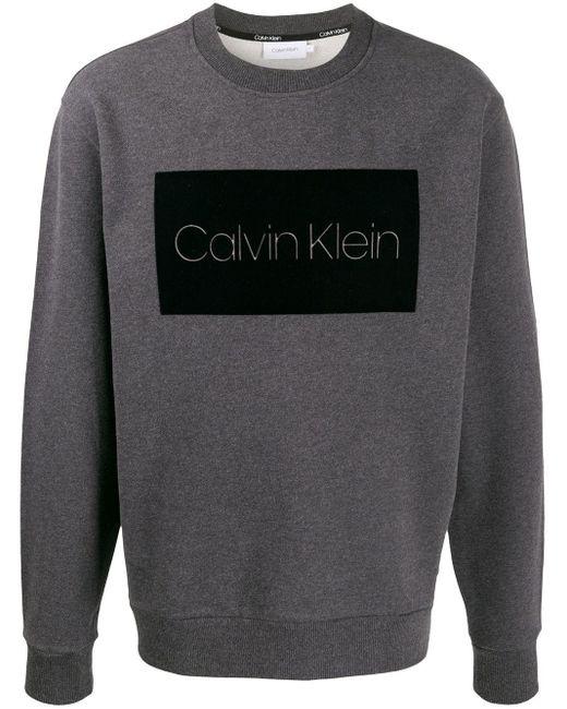 メンズ Calvin Klein ロゴ プルオーバー Gray