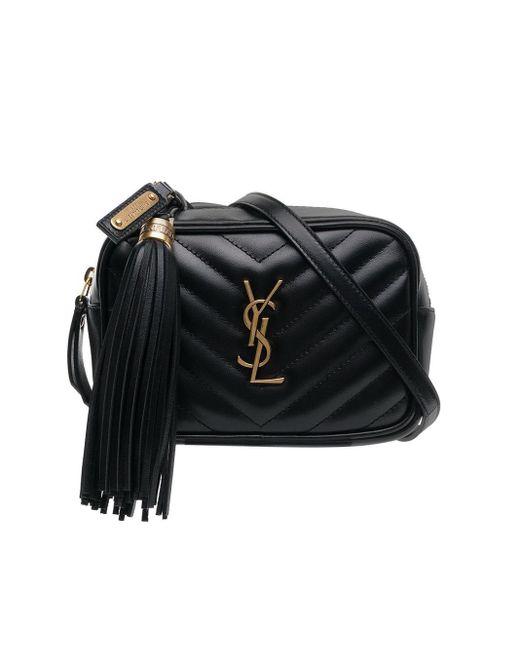 Saint Laurent Black Lou Belt Bag In Matelassé Leather