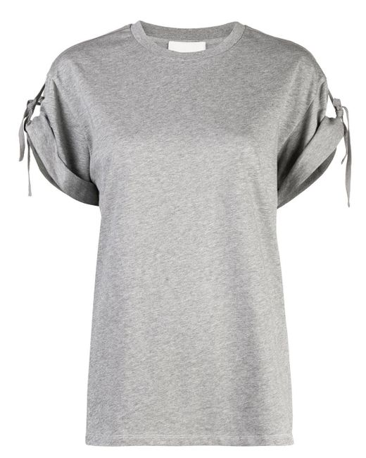 3.1 Phillip Lim Camiseta de manga corta con lazos de mujer de color gris S7BcN