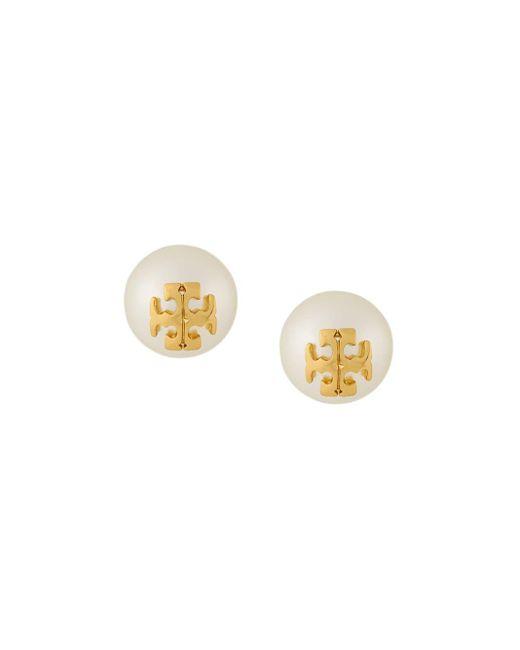 Tory Burch Crystal Pearl Stud Earrings White