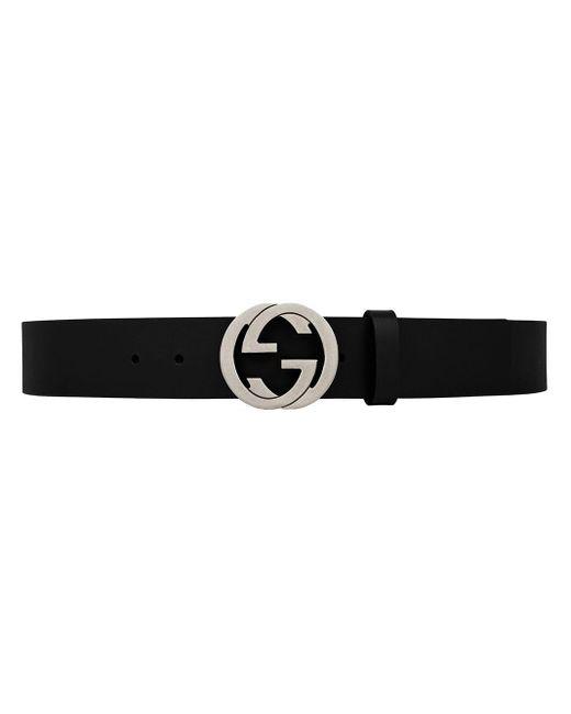 Gucci Leren Riem Met In Elkaar Grijpende G-gesp in het Black voor heren