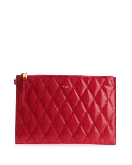 Givenchy ロゴ キルティング ポーチ Red