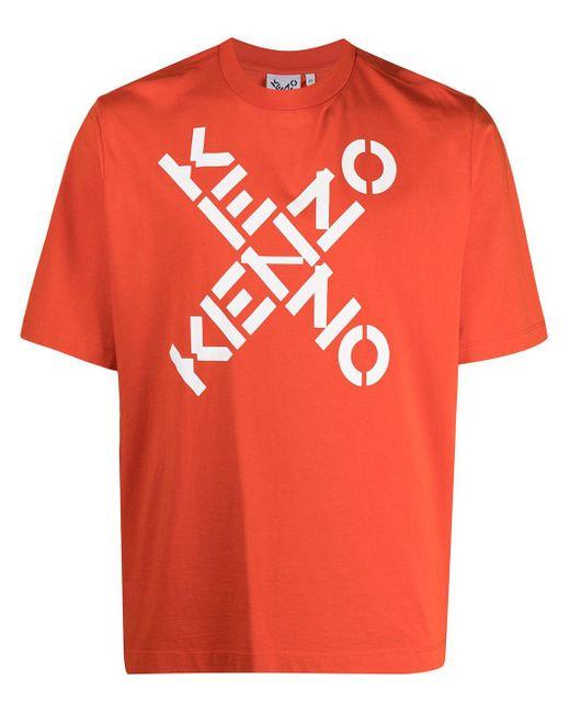メンズ KENZO ロゴ Tシャツ Orange