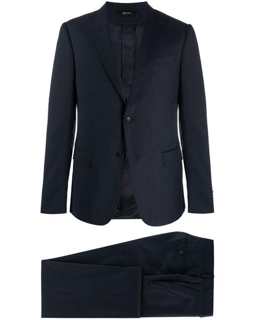 メンズ Z Zegna ストライプ シングルスーツ Blue