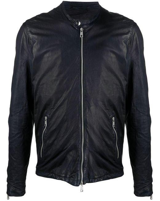 Giorgio Brato Blue Zipped Pocket Leatherjacket for men