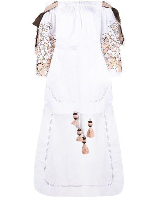 Yuliya Magdych White Hortensia Kleid