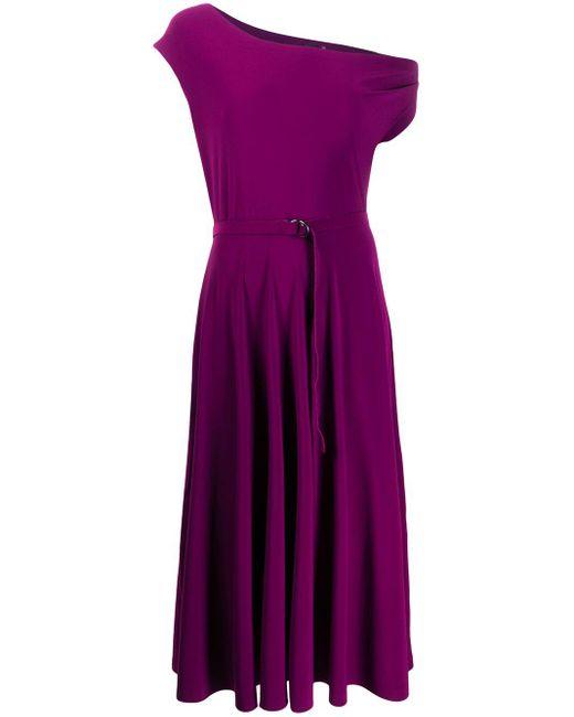 Norma Kamali ワンショルダー フレアドレス Purple