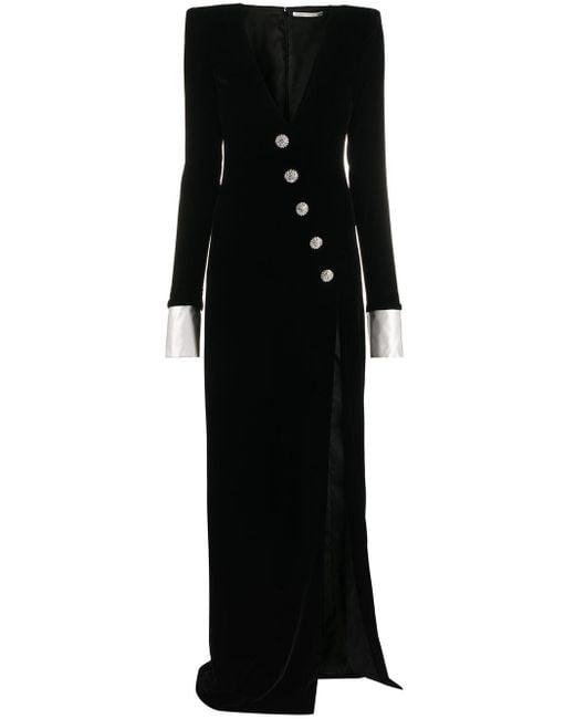 Alessandra Rich ビジューボタン ドレス Black
