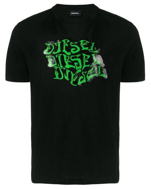 メンズ DIESEL グラフィック Tシャツ Black