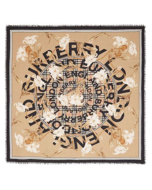 Fular con estampado Archive Burberry de color Brown