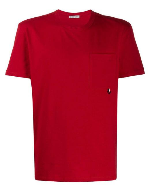 メンズ Moncler パッチポケット Tシャツ Red