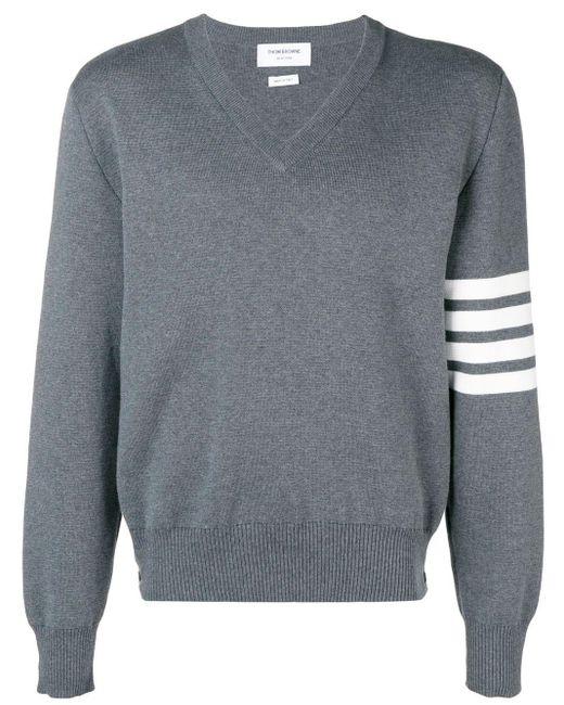 Свитер С V-образным Вырезом С 4 Полосками Thom Browne для него, цвет: Gray