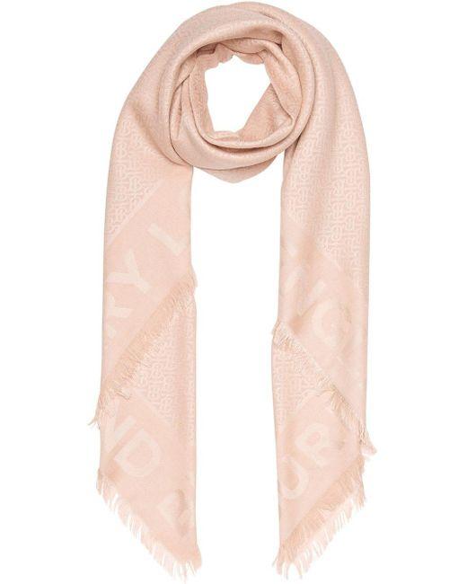 Burberry モノグラムジャカード スカーフ Pink