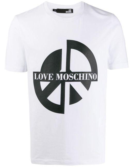 メンズ Love Moschino Peace プリント Tシャツ Multicolor