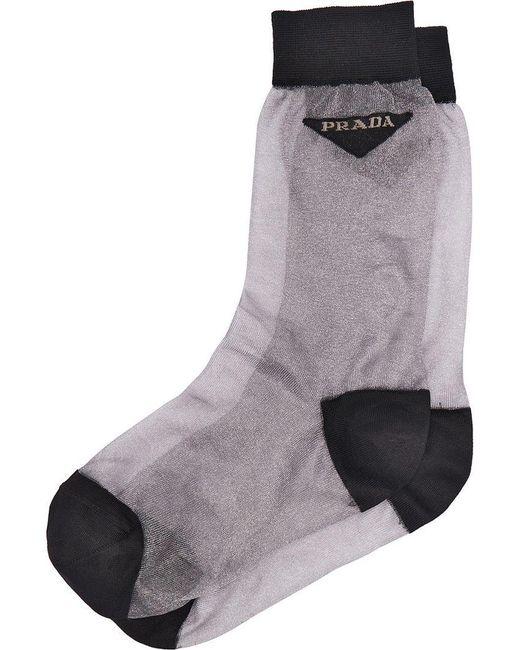 Prada - Gray Light Nylon Socks - Lyst