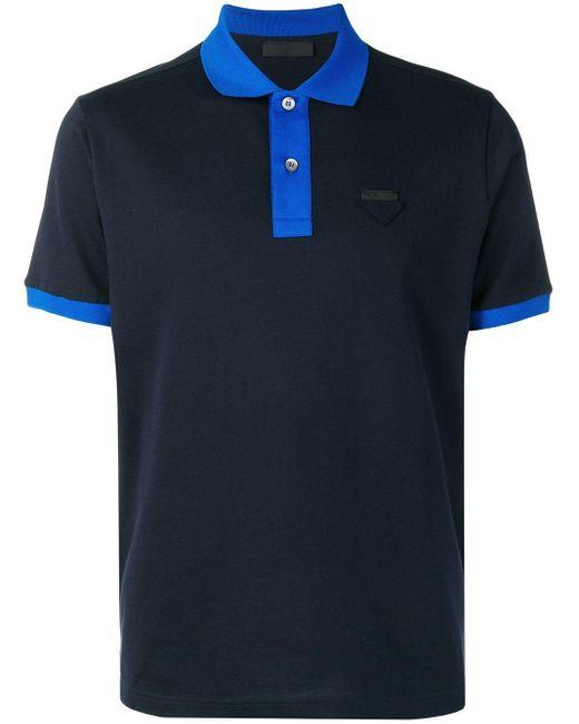 メンズ Prada ロゴパッチ ポロシャツ Blue