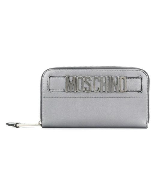Moschino - Metallic Logo Plaque Wallet - Lyst