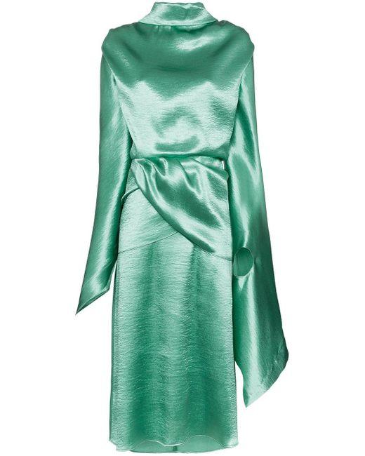 Vestido drapeado con espalda descubierta Christopher Kane de color Green