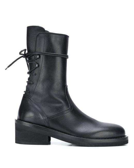 Women's Black Rear Lace-up Boots