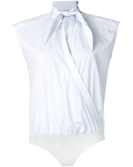 Pinko - Blue Sleeveless Bodysuit Blouse - Lyst