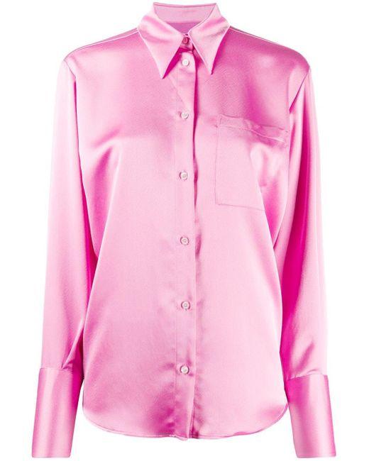 MSGM サテン ブラウス Pink