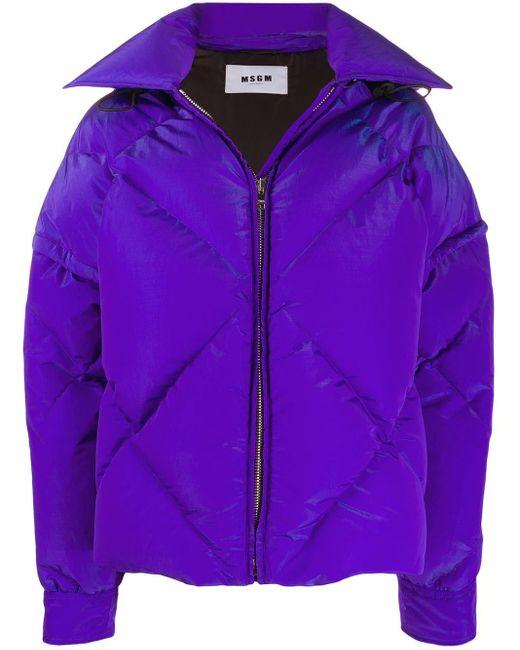 MSGM フーデッド パデッドジャケット Purple