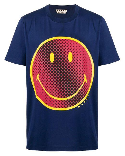 Marni Blue Smiley-face Print T-shirt for men