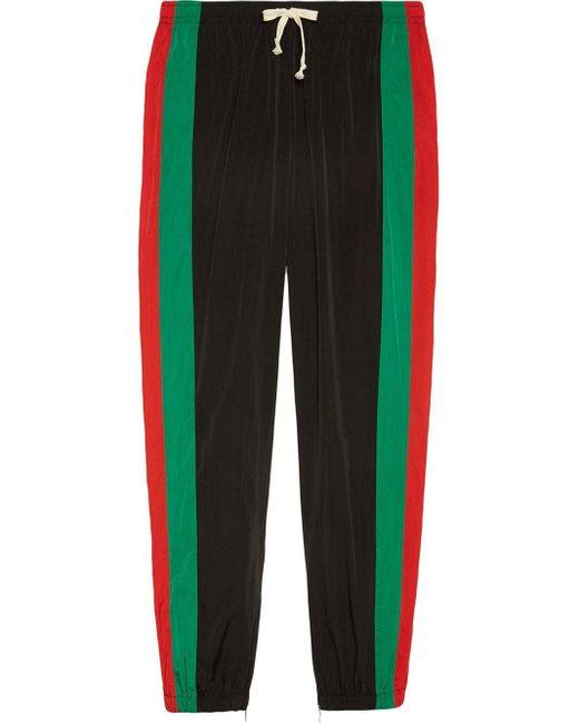 メンズ Gucci グッチウォータープルーフナイロン ルーズ ジョギングパンツ Black