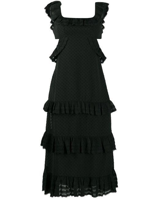 Zimmermann ラッフル ドット ドレス Black