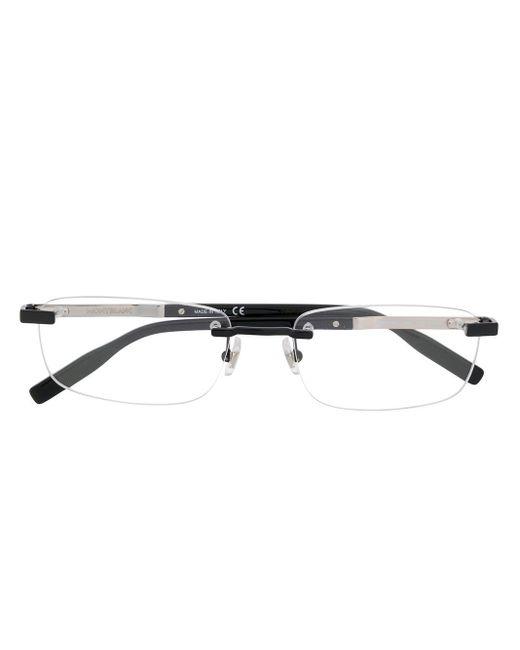 メンズ Montblanc レクタンギュラー フレームレス 眼鏡 Black