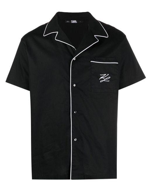 メンズ Karl Lagerfeld コントラストトリム シャツ Black
