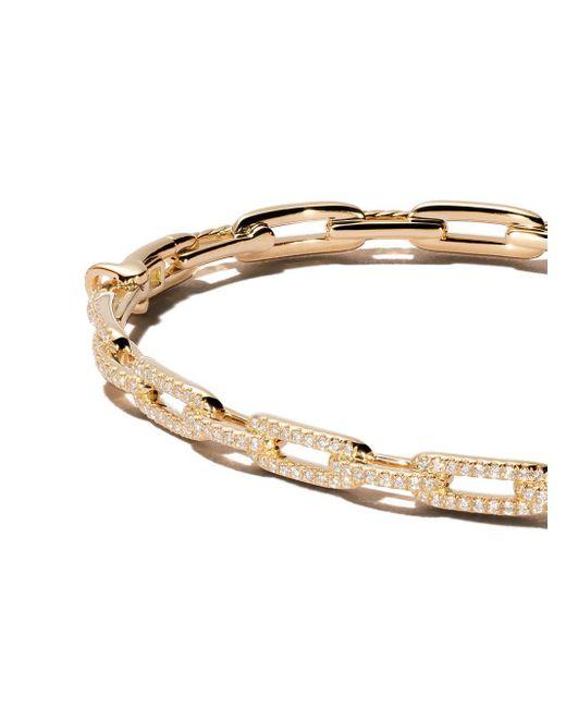 David Yurman Stax ダイヤモンド チェーン ブレスレット 18kイエローゴールド Metallic