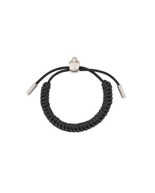 Alexander McQueen Black Woven Skull Bracelet for men
