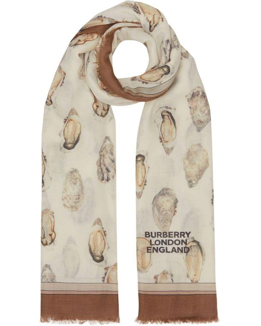 Burberry プリント スカーフ Natural