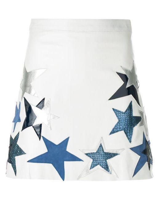 Manokhi スターパッチ レザースカート White