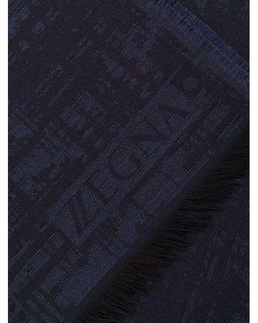メンズ Z Zegna フレイドエッジ スカーフ Blue